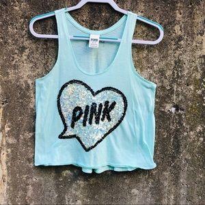PINK Victoria's Secret Mint Sequin Tank